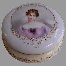 Art Nouveau Limoges Hand H.P. Powder/Trinket Box w/Portrait of Gorgeous Lady