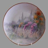 "Bavaria H.P. ""Garden Wall"" Pattern Cabinet Plate - Signed E Challinor (Pickard Artist)"
