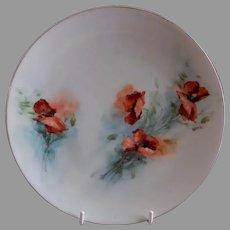 Buchanan Studio, Indianapolis, Hand Painted Cabinet Plate w/California Poppies Motif