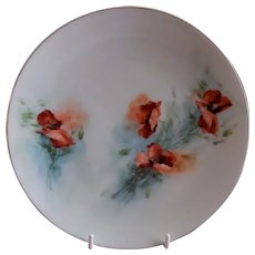 Buchanan Studio, Indianapolis, Hand Painted Cabinet Plate w/California Poppies Motif