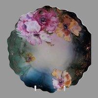 "Z. S. & Co. Bavaria ""Punch"" Cabinet Plate w/Floral Poppy Transfer Motif"