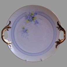 P T Bavaria Cabinet Serving Plate w/Transfer Forget-Me-Not Blossoms Motif