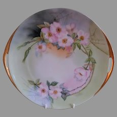 Silesia H.P. Serving Plate w/Wild Roses Motif - Artist Initialed