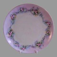 Buchanan Studio, Indianapolis, Hand Painted Cabinet Plate w/Pastel Pink Roses Motif