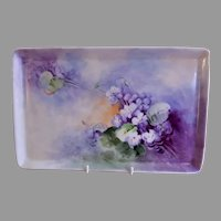 T&V Limoges H.P. Dresser Tray w/Violet Blossoms Motif