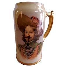 Ceramic Arts Company Belleek Hand Painted Portrait Stein - Spanish Cavalier/Explorer