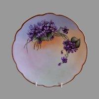 "Porcelain H.P. Cabinet Plate w/Violets Motif - Artist Signed ""M Howlett"""