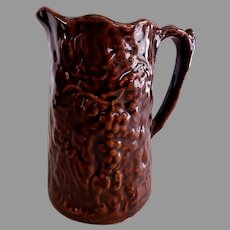 Stoneware Pitcher w/Embossed Grape Design - Bennington-Type Glaze