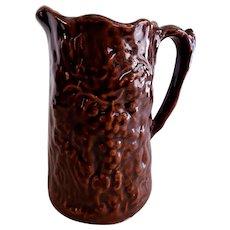 Stoneware Pitcher w/Embossed Grape Design - Bennington-Type Glaze