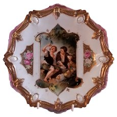 R.S. Prussia Cabinet Plate - Melon Eaters - Ribbon & Jewel Mold #18