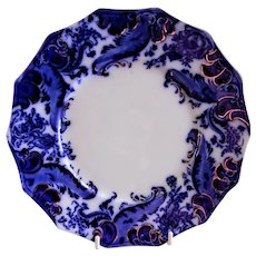 "W. H. Grindley ""Argyle"" Pattern Flow Blue Luncheon Plate"