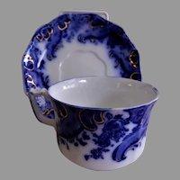 "W. H. Grindley ""Argyle"" Pattern Flow Blue Cup & Saucer Set"