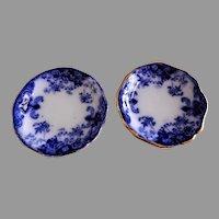 John Maddock & Sons Flow Blue Butter Pats - Linda Pattern - Set of 2