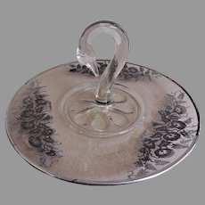 "Paden City Glass ""Swan Handle"" Silver Deposit Server"