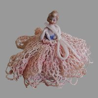 Porcelain Half Doll German Pin Cushion w/Crochet Gown