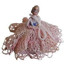 Porcelain Half Doll German Pin Cushion w/Crochet Gown