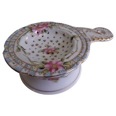 Nippon Hand Painted Azelea Blossoms Motif Tea Strainer w/Cup