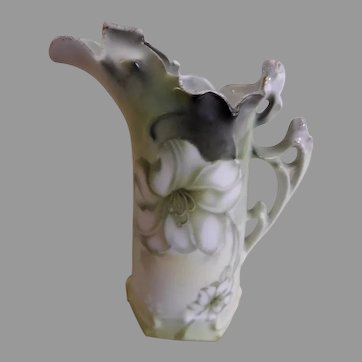 R.S. Germany (Green Mark) Miniature Pitcher w/White Lily Motif