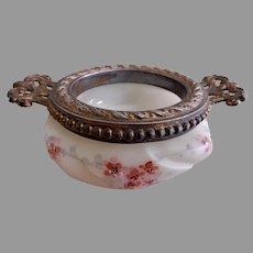 """C F Monroe """"Wavecrest"""" Helmschied Swirl Hand Painted Open Pin Dish w/Collar & Handles"""