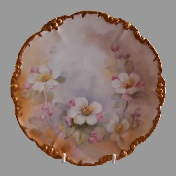 Jean Pouyat (JPL) Limoges Hand Painted Cabinet Plate w/Japanese Cherry Blossom Motif - Signed