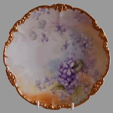 Jean Pouyat (JPL) Limoges Hand Painted Cabinet Plate w/Violet Blossoms Motif - Signed