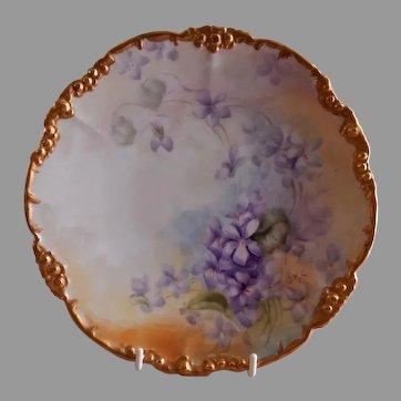 Jean Pouyat (JPL) Limoges Hand Painted Cabinet Plate w/Violet Blossoms Motif - Signed