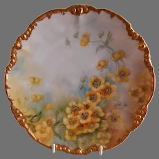 Jean Pouyat (JPL) Limoges Hand Painted Cabinet Plate w/Buttercup Blossoms Motif - Signed