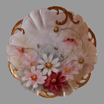 Rosenthal & Co. Hand Paint Cabinet Plate: Multi-Colored Daisy Blossoms Motif - Signed