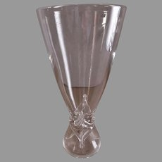 "Steuben Crystal Glass ""Pilsner"" Shape Vase w/Applied Diamond Accents"