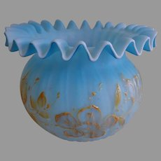 Victorian Blue Cased Glass Squatty Ruffled & Floral Enameled Vase