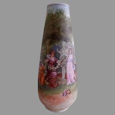 """Gebruder Heubach Tapestry Porcelain """"Garden Scene"""" Vase"""
