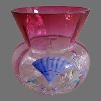 Bohemian Rubina Crystal Enameled Vase