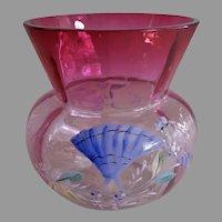 Victorian Rubina Crystal Enameled Vase