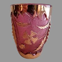 "EAPG ""Delaware"" Pattern Cranberry Stain & Gold Barrel Shaped Tumbler - U. S. Glass Co."