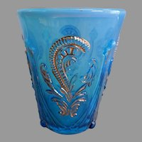 """Northwood Glass """" Inverted Fan & Feather"""" Blue & Opalescent Tumbler"""