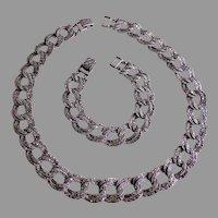 Vintage Sterling Silver & Marcasite Gems Necklace & Bracelet Parure