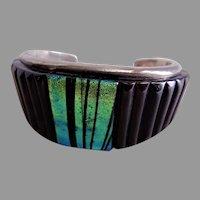 Robert Drozd Sterling Silver/Dichroic Glass/ Onyx Cuff Bracelet