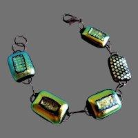 Artisan Designed/Created Dichroic Glass Link Bracelet