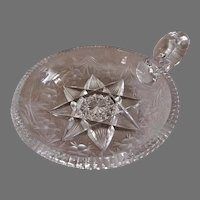 """Tuthill"" Cut & Stone Wheel Engraved ""Primrose"" Pattern Handled Nappy"