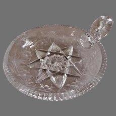 """Tuthill"" Cut & Stone Wheel Engraved ""Primrose"" Pattern Handled Nappy"