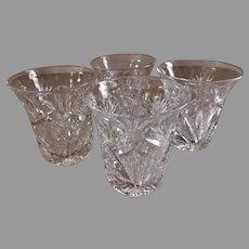 """""""Brilliant"""" Cut Glass Corset Shape Tumblers - Set of 4"""