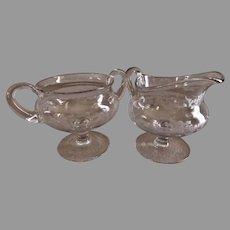 """Hawkes"" Copper-Wheel Engraved ""Floral Garland"" Design Pedestal Cream & Sugar Set"