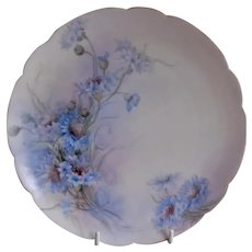Charles Haviland & Co. Hand Painted Cabinet Plate w/Bachelor Button Floral Motif - #2 of 4 Plates
