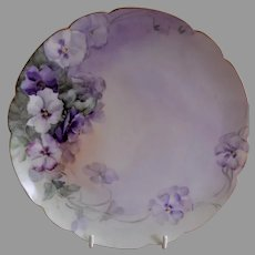 Charles Haviland & Co. Hand Painted Cabinet Plate w/Pansies Motif - #3 of 4 Plates