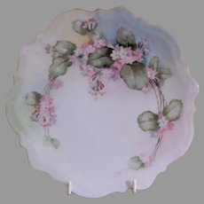 CT Altwasser Silesia Hand Painted Cabinet Plate w/Pink Forget-Me-Not Motif