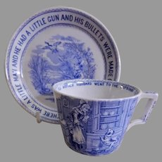 Whitaker & Co. Transfer-ware Nursery Rhyme Cup & Two Saucers - All Have Hairlines