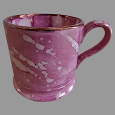 Early-19th Century Sunderland Pink Splatter Lustre-ware Child's Mug