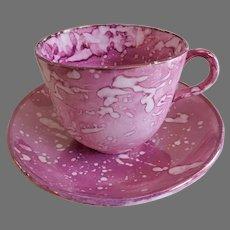 Early-19th Century Sunderland Pink Splatter Lustre-ware Cup & Saucer Set