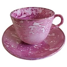 Early-19th Century Sunderland Pink Splatter Lustre-ware Cup & Saucer Set