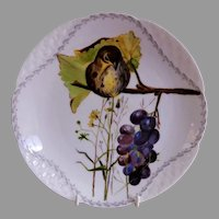 "Charles Haviland & Co. Hand Painted ""Bird"" Shallow Bowl/Plate - Artist Initialed - Circa 1880"